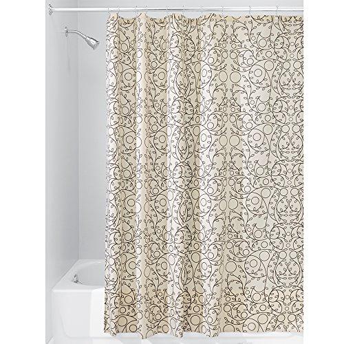 InterDesign Twigz Duschvorhang | Design Duschvorhang in 183,0 cm x 183,0 cm | natürliches Duschvorhang Motiv mit Zweigen | Polyester beige (Badezimmer Duschvorhänge Bronze)