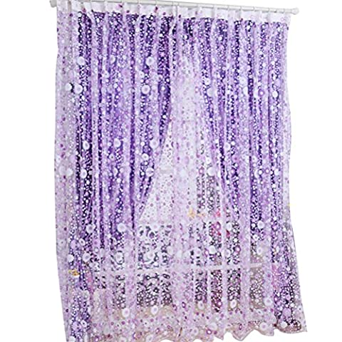 WINOMO Semi-Transparent Flower Sheer Curtains Floral Print Tulle Voile Window Screen Tassel Door Scarf Drapes Valance For Room Decor 100x200cm