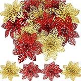 SATINIOR 30 Pezzi Natale Glitter Poinsettia Matrimonio Fiori Artificiali per L'Albero di Natale Ornamenti Corone Decor