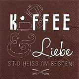 HomeF Serviette Servietten mit Sprüchen Verschiedene ausgefallene Motive zur Auswahl 33x33 cm 20 Stück 3-lagig (Serviette Kaffee und Liebe)