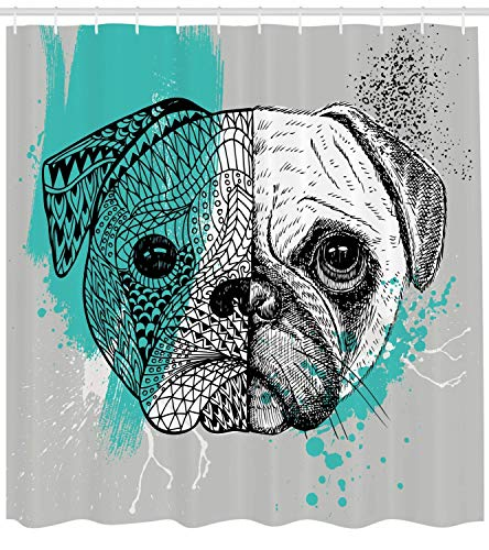 Presock Pug Duschvorhang, Hand Drawn Head of a Dog Blue Splashed Backdrop Two Different Halves of a Whole, Fabric Bathroom Decor Set with Hooks, 60 x 72Inch Extra Wide, Blue Black White -