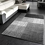 Designer Teppich Modern Kariert Kurzflor Design Meliert In Grau Weiß Schwarz, Grösse:140x200 cm