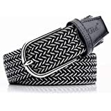 Belts Mensmen'S Belt Braided Elastic Braided Belt Non-Porous Elastic Stretch Belt Metal Buckle Fits Jeans, Pants
