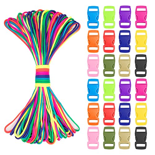 Paracord Bracelet Kit, 101Ft Parachute Cord Nylon and 24 Paracord Pieces Buckles Contoured Bumper Strong Clips, Outdoor Rope Outdoor Survival Rope