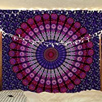 RAJRANG BRINGING RAJASTHAN TO YOU Mandala Tapestry - Hippie Pink and Purple Indian Wall Hanging Boho Floral Peacock Feather Design Bedsheet for Wall Art, Room Decor 213 x 137 Cms