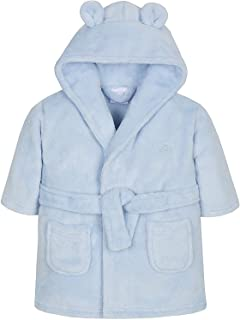 Aumsaa Baby Boys and Girls Unisex Fleece Hooded Dressing Gown Bath Robe Pink Blue White