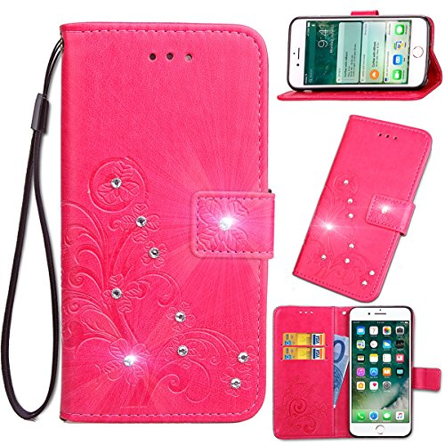 ZTE Blade A510 Hülle,Basic Stock Doppelmagnetisch Leder With Card holder and Four-leaf Clover Gurt With Diamond Folding lip Hülle(Hot Pink) Edge Folding Blade