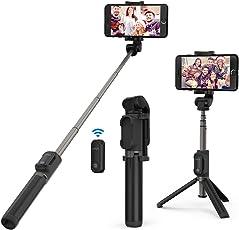 Bastone Selfie Treppiedi VAVA 2-in-1 Asta Selfie Bluetooth Monopiedi + Treppiedi, Selfie Stick con Telecomando di Scatto Remoto Bluetooth (Doppia Rotazione a 360 Gradi, Estendibile fino a 60 cm / 24 in, Compatibile con iPhone X 8 7 7 plus 6 6s 6s plus Samsung Galaxy s7 edge Huawei p9 lite