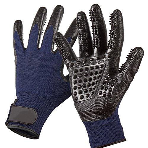 YOOUOOK Fellpflege Handschuhe-Links & rechts-Verbesserte Fünf Finger Design-für Katzen, Hunde & Pferde-lang & kurz Fell-Sanfte Bürste-Ihr Liebling Wird es lieben (Blau)