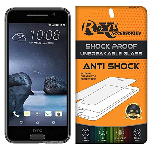 HTC ONE A9 Roxel® {Buy 1 GET 1 Free} Unbreakable Anti Shock Series Tempered Glass Screen Protector for HTC ONE A9 (Carbon Gray, 32 GB)