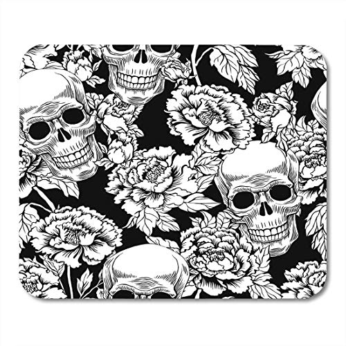 Deglogse Gaming-Mauspad-Matte, Scroll Black Rose with Skull Flowers Peony Gold Tattoo Style Grunge Rock and Roll Design Dead Anatomy Mouse Pad,Desktop Computers -