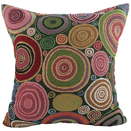 Luxbon Bunt Kreise Dauerhaft Baumwolle Leinen Kissenbezug mit Reißverschluss Sofa Büro Dekokissen 45x45 cm