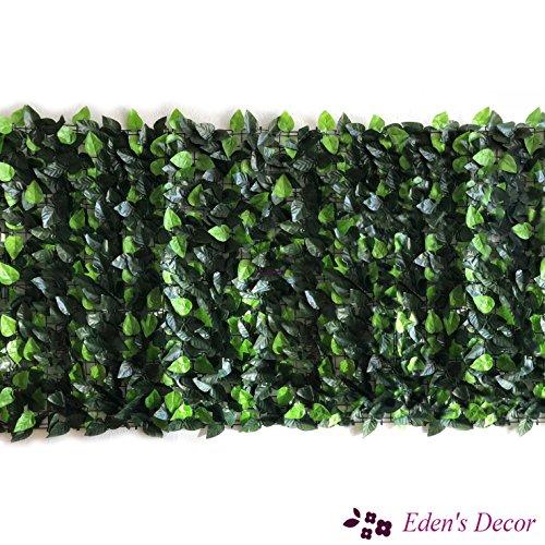 Eden 'S Decor 304,8x 101,6cm Faux Ivy Leaf Sichtschutz-Gitter Zaun Bildschirm, natürliche Künstliche Hecke für Innenbereich/Außenbereich Dekoration Forest-Color/Mint Grün Blätter (Block Ivy)