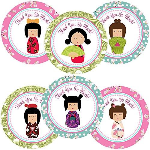 orations - EU Kimono Kokeshi Mädchen danken Ihnen Aufkleber Aufkleber - Geisha-Mädchen-Partei-Bevorzugungen Umschlag Aufkleber - Satz von 30 ()