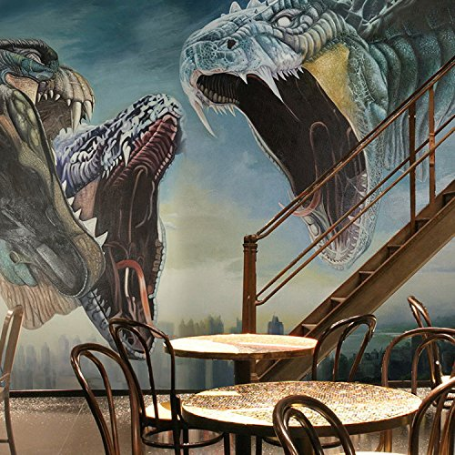 Leegt 3D-Terroristischen Geist Drachen Totem Wandgemälde Variieren In Abhängigkeit Von Den Einzelnen Thread Stick Studio Wallpaper 350cmX300cm -
