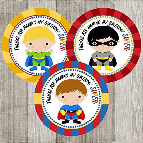 orations - EU Superheld danken Ihnen Aufkleber Aufkleber für Jungen - Geburtstags-Party-Bevorzugung und Umschlag-Dichtung - Set 30 ()
