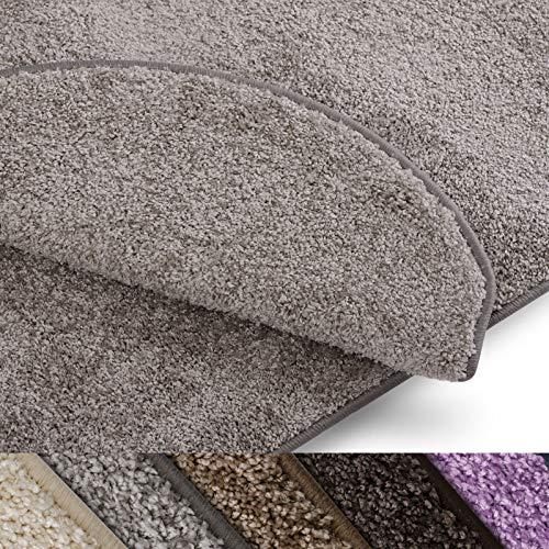 casa pura Teppich Läufer Uni Silbergrau | Qualitätsprodukt aus Deutschland | GUT Siegel | kombinierbar mit Stufenmatten | viele Größen (80 x 200cm)