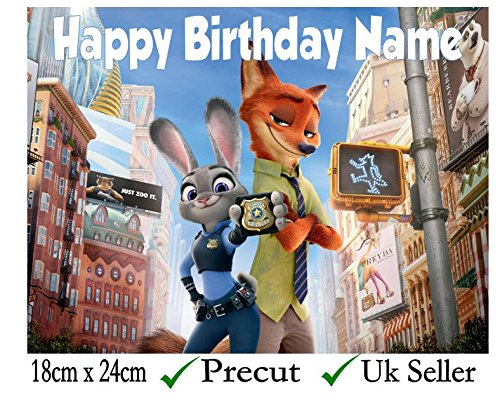 "Zootopia Inspired Edible Icing Cake Topper Precut - Personalise at the (Review Your Order) section ""Add Gift Options"" (3. Rectangle 24cm x 18cm)"