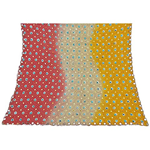 Antike Jahrgang Dupatta lange Stola Georgette Multicolor Hand wulstige Verpackungs-Schleier