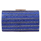 Bonjanvye Diamonds Box Clutches for Women Evening Clutch Purse Blue