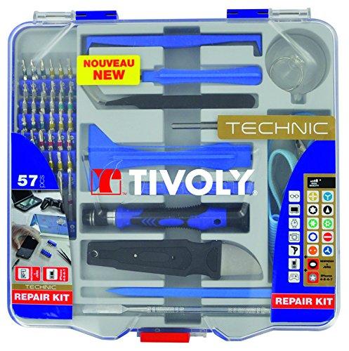 Tivoly 11501570042 Ouverture/Réparation de Smartphone/Appareils Electriques/Electroniques, Gris, Set de 57 Pièces