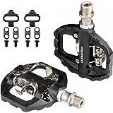 MTB-pedalen SPD Flat Dual Platform met schoenplaatjes, compatibel met Shimano SPD Clipless Bike Pedalen, 3 verzegelde lagers