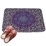 LvRaoo Fußabtreter Mandala Blumendruck Rutschfest Sauberlaufmatte Fußabstreifer Teppiche Läufer für Außen und Innen (# 17, 80*50cm)