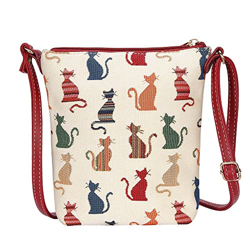 SIGNARE tapiz bolso de la honda bandolera cartera (Descrado Gato)