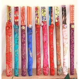 AAF Nommel ® Asiatische Essstäbchen aus Holz in schönen bunten Stofftaschen, für 10 Personen, 013