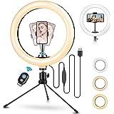 """TVLIVE Aro de Luz 10.2"""" con Tripode, 3 Modos de Luz, 10 Niveles de Brillo 360º Soporte Ajustable Ring Light, Anillo de Luz Co"""
