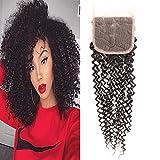 Huarisi 8a Lace Closure Cheveux Humain Bouclé 4x4 partie gratuite fermetures Brésilien Kinky Curly 130 densité couleur naturelle 1 pièce 10 pouce a lot seulement