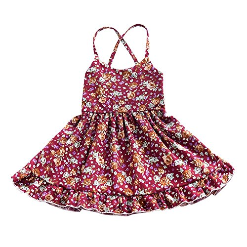 Allouli Baby Girls' Summer Cotton Floral Mini Dress (Girl Month 12 Baby)