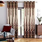 Story@Home Berry Blackout Combo Set of 2 Piece Jacquard Door Curtains for Living