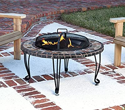 AmazonBasics Feuerstelle, Naturstein, mit Kupfer-Akzenten, 86cm von AmazonBasics bei Du und dein Garten