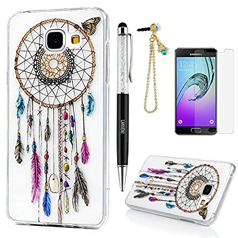 A3 Case Cover 2016 Version, Lanveni Soft Rubber TPU Gel Cover [Slim Fit] [Full-edged Protection] with Stylish Printing Design for Samsung Galaxy A3 2016 + 1 Dust Plug + 1 Stylus Pen + 1 Screen Protector - Desgin