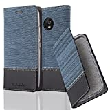 Cadorabo Hülle für Motorola Moto G5 Plus - Hülle in DUNKEL BLAU SCHWARZ – Handyhülle mit Standfunktion und Kartenfach im Stoff Design - Case Cover Schutzhülle Etui Tasche Book