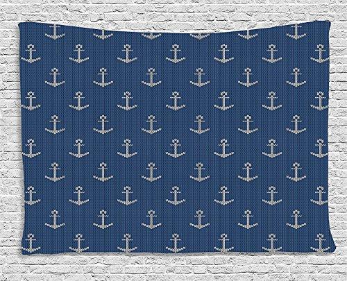 qinghexianpan Anchor Tapisserie-, Nordic Maschenware Thema Retro skandinavischen Winter Fashion Muster Hipster Oceanic zum Aufhängen, für Schlafzimmer Wohnzimmer Wohnheim, 60W x 40L Zoll, Blau, Weiß 80
