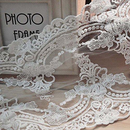 Elfenbeinfarben 3Meter 81/10,2cm Bilaterale Stickerei Spitze Stoff Braut Schleier Kostüme Supplies