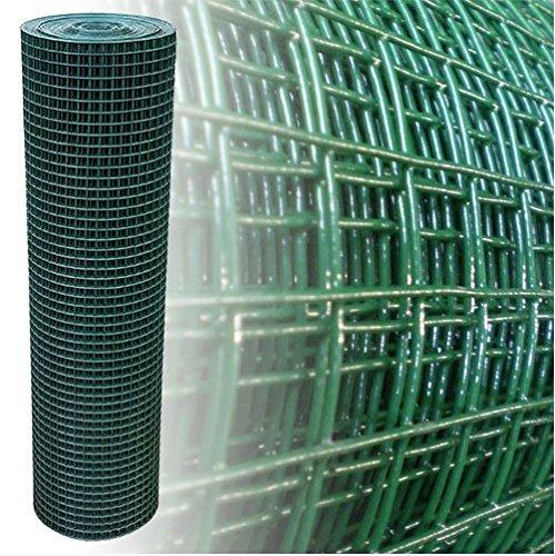 Volierendraht Grün 19x19mm Maschendraht 4-Eck Drahtgitter (100cm x 25m, 1,45mm dick)