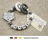 Baby Greifling Beißring geschlossen mit Namen | individuelles Holz Lernspielzeug als Geschenk zur Geburt & Taufe | Mädchen & Jungen Motiv Fuchs in grau