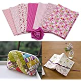 B : Malloom 7 Pcs Cotton Patchwork Quilt Series Fabric Floral Charms Quarters Bundle Sewing, 50 x 40cm (B)