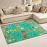 COOSUN Tiki Tribal Mask Hawaiian Elemente Bereich Teppich Teppich Griffige Bodenmatte Fußmatten Wohnzimmer Schlafzimmer 31 x 20 Zoll 31 x 20 Zoll Multi