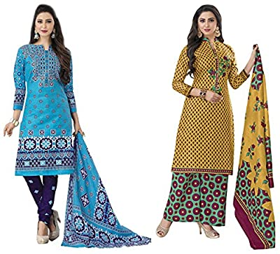 Hrinkar Blue And Yellow Cotton Prints With Solid Contrasts Salwar Suit Dupatta Or Churidar Suit For Women Latest Design And Style ( Material Unstitched ) Combo Pack Of 2 Dress - HKRCMB2408