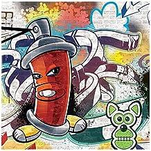 Delester Design Décoration Murale Bombe De Peinture Graffiti, Verre,  Multicolore, 30 X 30