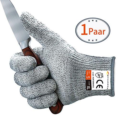 Mycarbon guanti di protezione da taglio guanti antitaglio da cucina guanti protettivi classe 5 en 388 ce f ¨ ¹ r k ¨ ¹ cantiere giardinaggio bianco(xl)