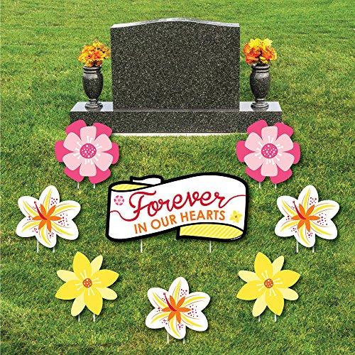 Outdoor-memorial (Big Dot of Happiness Blume Memorial-Yard Zeichen & Outdoor Rasen Friedhof Grave Dekorationen-Memorial Friedhof Yard Schilder-Set von 8)