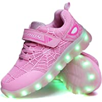 YUNICUS Spider Kid Boys Girls LED Shoes Light Up Trainers Children USB Charging Flashing Low Top Sneakers Best Gift…