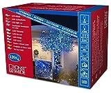Konstsmide 3612-400 Micro LED Lichterkette/für Außen (IP44) / 24V Außentrafo / 120 blaue Dioden/schwarzes Kabel