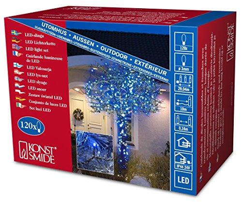 Konstsmide 3612-400 Micro LED Lichterkette / für Außen (IP44) /  24V Außentrafo / 120 blaue Dioden / schwarzes Kabel