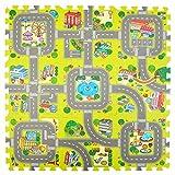 Pink Papaya Puzzlematte Stadt, Straßen-Teppich 92x92cm, 9tlg. Spielmatte Puzzle für Kinder